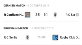 Résultat du dernier match